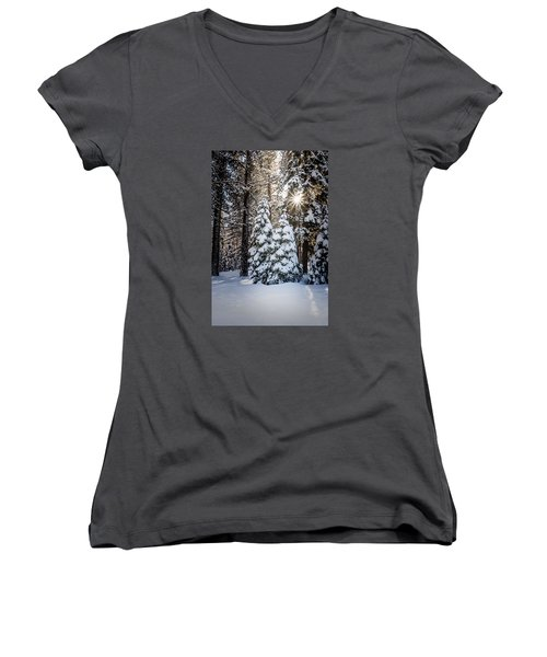Snow On Spooner Summit Women's V-Neck T-Shirt (Junior Cut) by Janis Knight