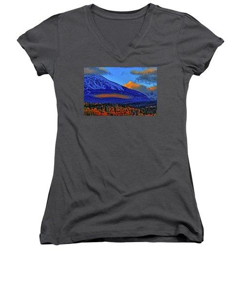 Women's V-Neck T-Shirt (Junior Cut) featuring the photograph Snow Peak Fall by Scott Mahon