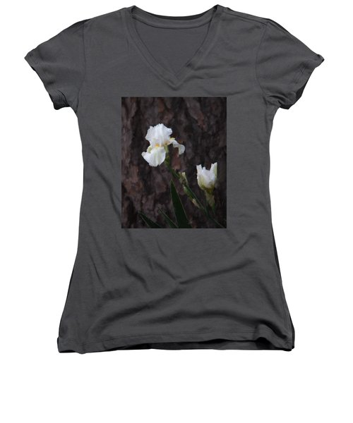Snow White Iris On Pine Women's V-Neck (Athletic Fit)