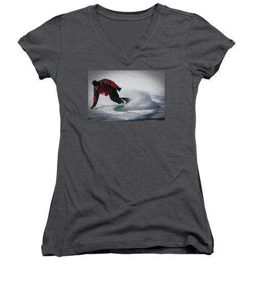 Women's V-Neck T-Shirt (Junior Cut) featuring the photograph Snowboarder On Mccauley by David Patterson