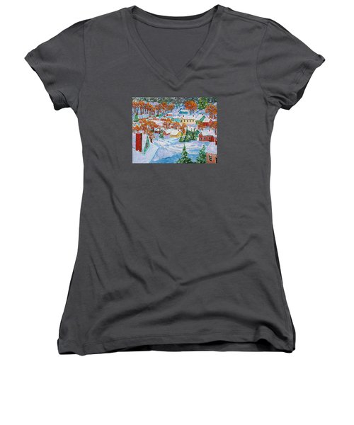 Snowed In Women's V-Neck T-Shirt (Junior Cut) by Mike Caitham
