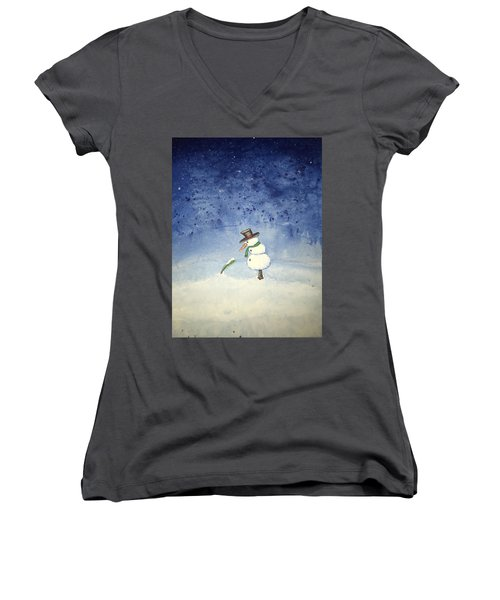 Women's V-Neck T-Shirt (Junior Cut) featuring the painting Snowfall by Antonio Romero