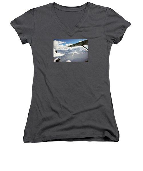 Snowfield Off Airplane Wing - Alaska Range Women's V-Neck
