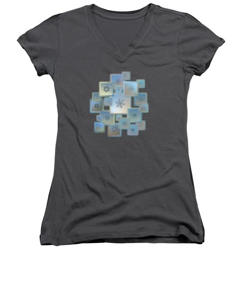 Snowflake Collage - Bright Crystals 2012-2014 Women's V-Neck T-Shirt (Junior Cut) by Alexey Kljatov