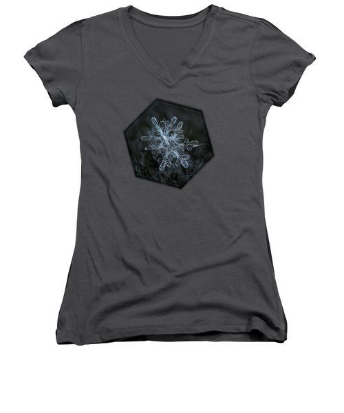Women's V-Neck T-Shirt featuring the photograph Snowflake Of January 18 2013 by Alexey Kljatov