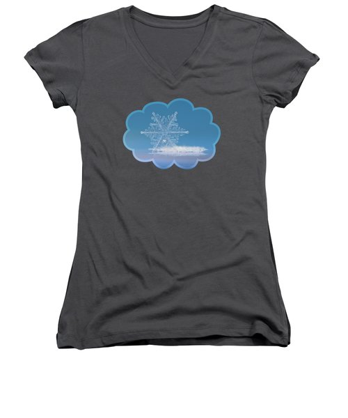 Snowflake Photo - Cloud Number Nine Women's V-Neck T-Shirt (Junior Cut) by Alexey Kljatov