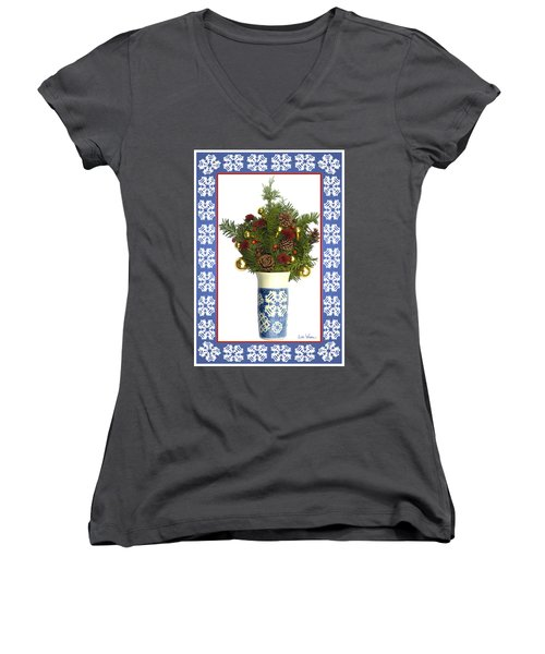 Women's V-Neck T-Shirt (Junior Cut) featuring the digital art Snowflake Vase With Christmas Regalia by Lise Winne