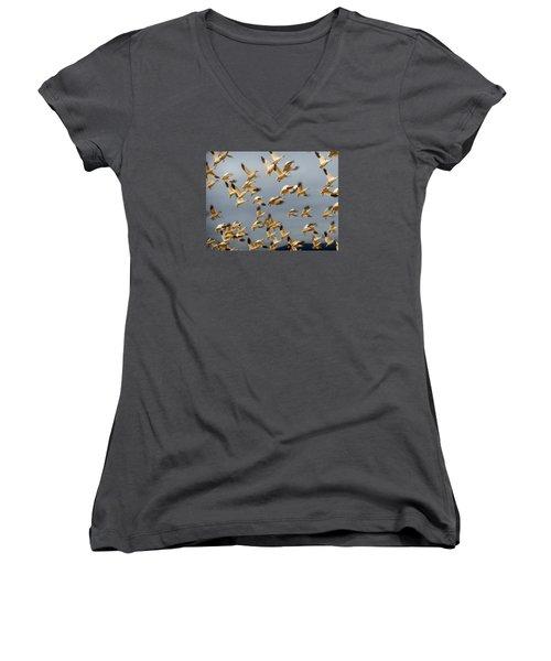 Snowgeese In Flight 2 Women's V-Neck T-Shirt (Junior Cut) by Karen Molenaar Terrell