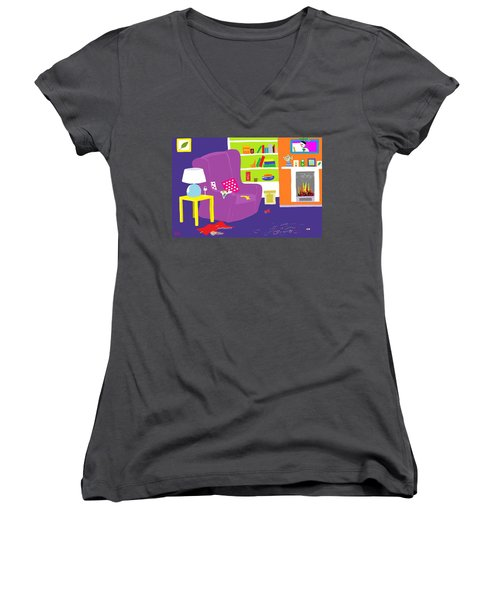 Women's V-Neck T-Shirt (Junior Cut) featuring the digital art Snowman Party by Barbara Moignard