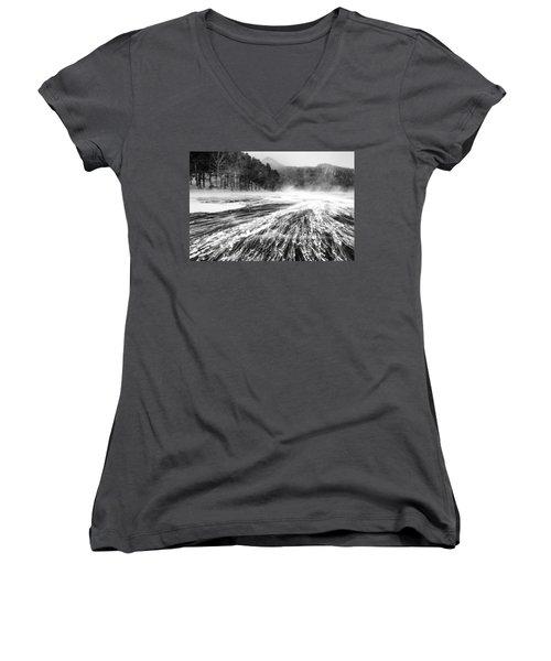 Snowstorm Women's V-Neck T-Shirt (Junior Cut) by Hayato Matsumoto