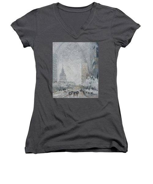 Snowy Day - Market Street Saint Louis Women's V-Neck (Athletic Fit)
