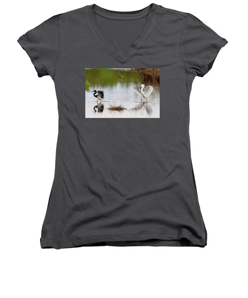 Snowy Egret Chasing Other Bird Out Of Feeding Area Women's V-Neck