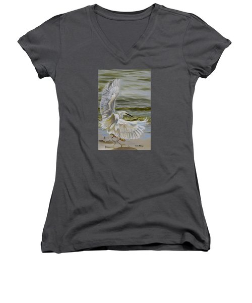 Women's V-Neck T-Shirt (Junior Cut) featuring the painting Snowy Egret Landing On The Shore by Phyllis Beiser