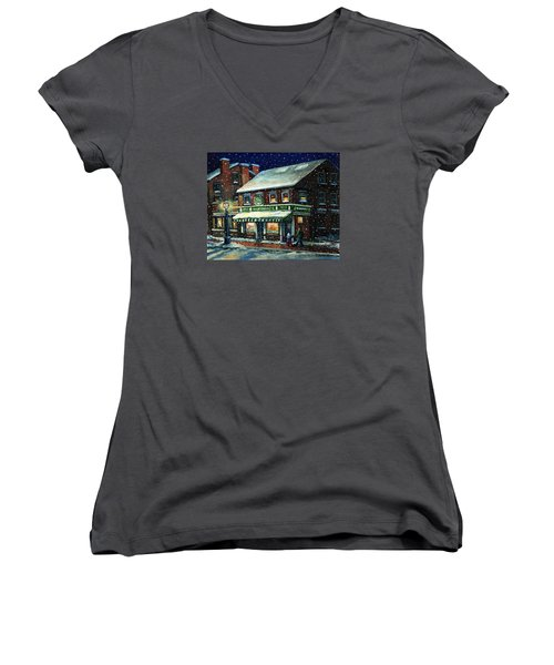 Snowy Evening In Gloucester, Ma Women's V-Neck T-Shirt