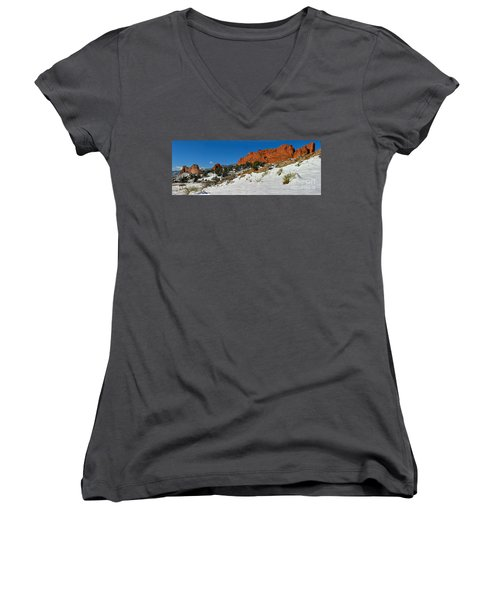 Women's V-Neck T-Shirt (Junior Cut) featuring the photograph Snowy Fields At Garden Of The Gods by Adam Jewell