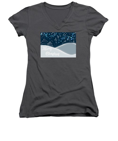 Snowy Night Christmas Card Women's V-Neck T-Shirt