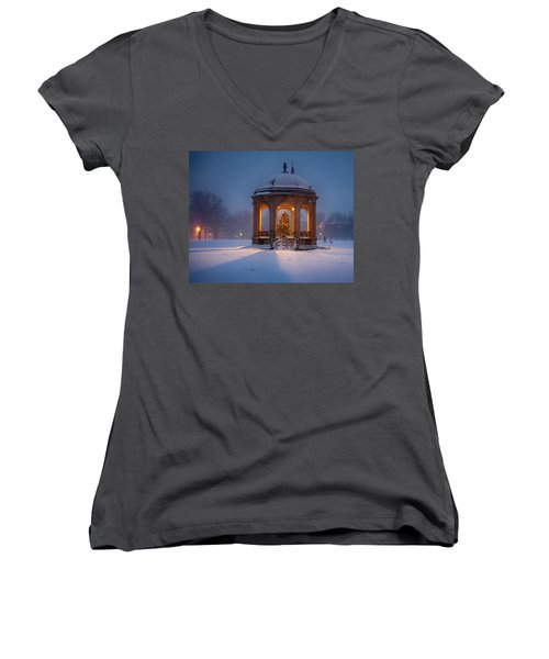 Snowy Night On The Salem Common Women's V-Neck