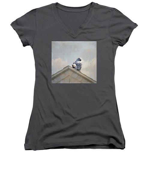 Snowy Owl  Women's V-Neck T-Shirt (Junior Cut) by Betty Pauwels