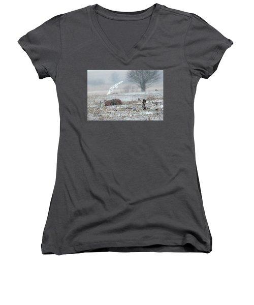 Snowy Owl In Flight 3 Women's V-Neck T-Shirt (Junior Cut) by Gary Hall