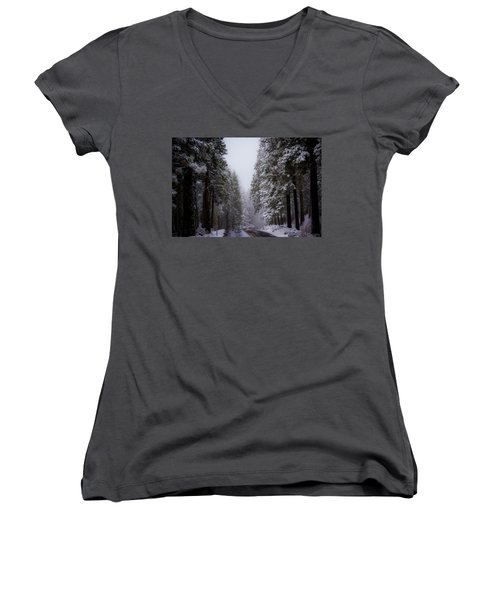 Snowy Path Women's V-Neck (Athletic Fit)