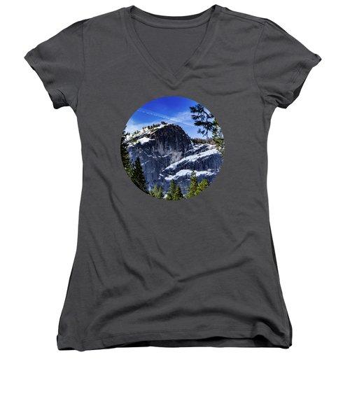 Snowy Sentinel Women's V-Neck T-Shirt (Junior Cut) by Adam Morsa