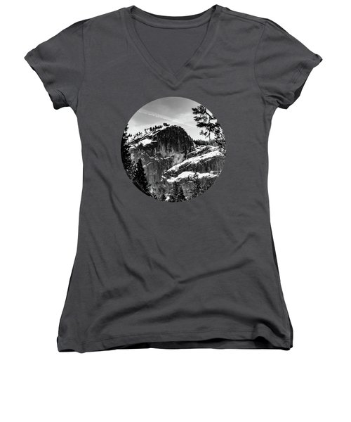 Snowy Sentinel, Black And White Women's V-Neck T-Shirt (Junior Cut) by Adam Morsa