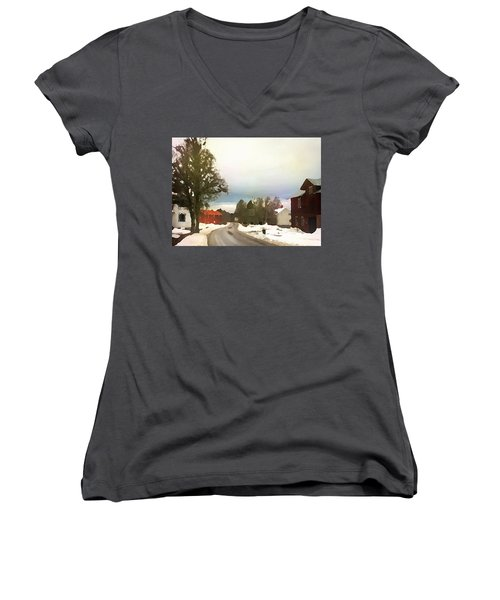 Women's V-Neck featuring the digital art Snowy Street With Red House by Shelli Fitzpatrick