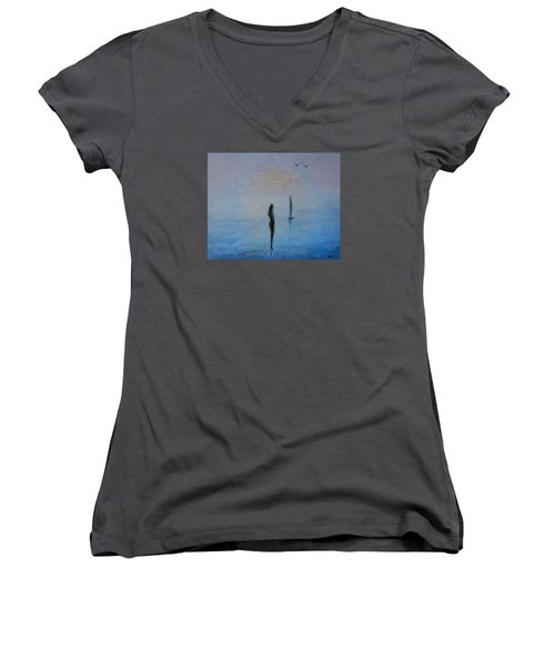 Women's V-Neck T-Shirt (Junior Cut) featuring the painting So Close by Jane See