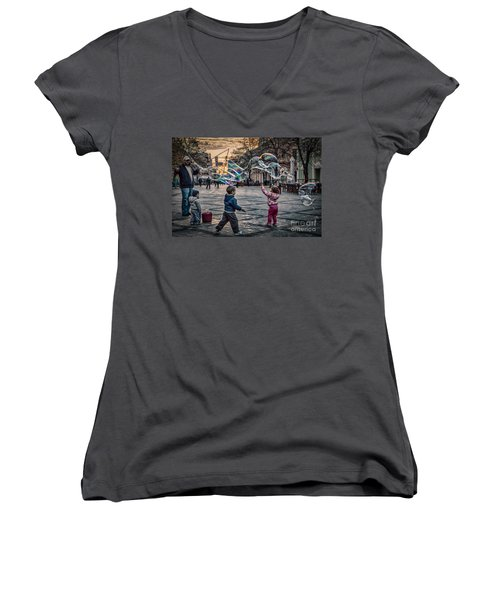 Women's V-Neck T-Shirt (Junior Cut) featuring the photograph Soap Bubbles Evening Play by Jivko Nakev