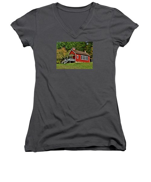 Soap Creek Schoolhouse Women's V-Neck T-Shirt (Junior Cut) by VLee Watson