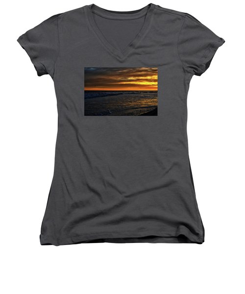 Women's V-Neck T-Shirt (Junior Cut) featuring the photograph Soaring In The Sunset by Kelly Reber