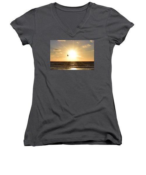 Soaring Seagull Sunset Over Imperial Beach Women's V-Neck
