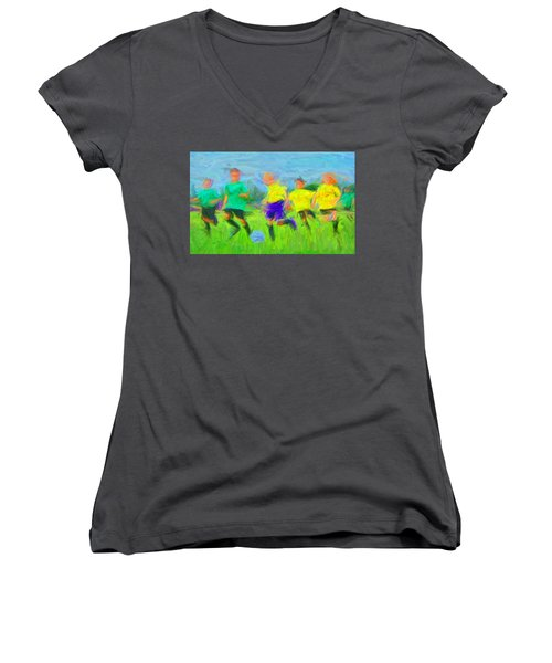 Soccer 3 Women's V-Neck T-Shirt (Junior Cut) by Caito Junqueira