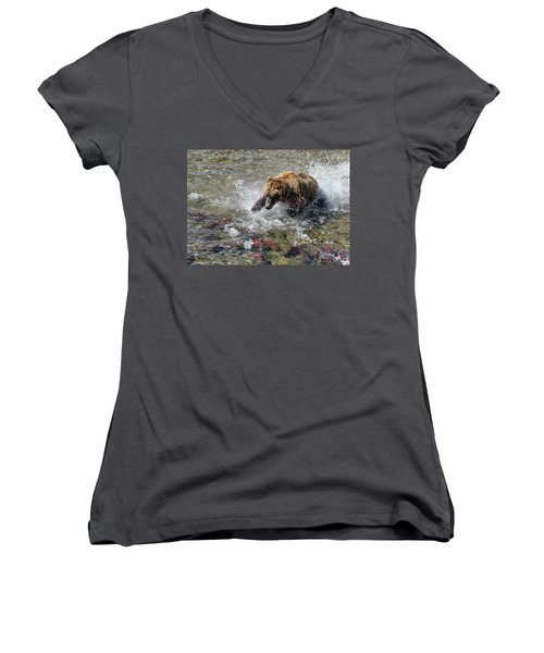 Sockeye In Sight  Women's V-Neck (Athletic Fit)