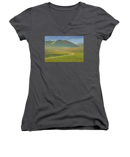 Soda Lake Road Women's V-Neck T-Shirt (Junior Cut) by Marc Crumpler