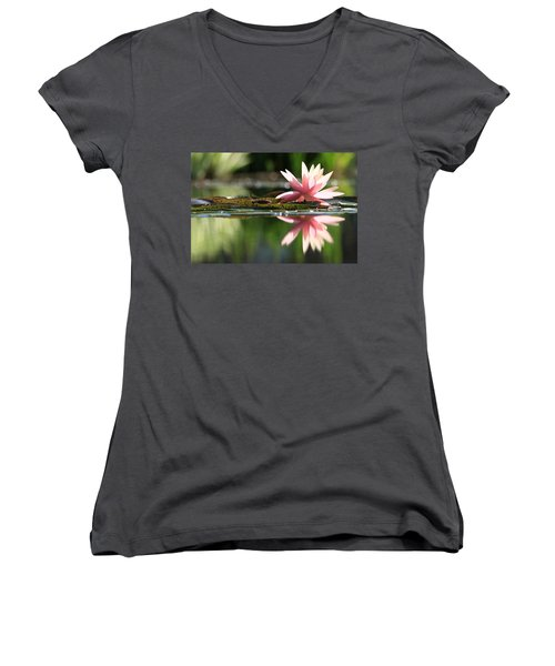 Soft Pink Water Lily Women's V-Neck