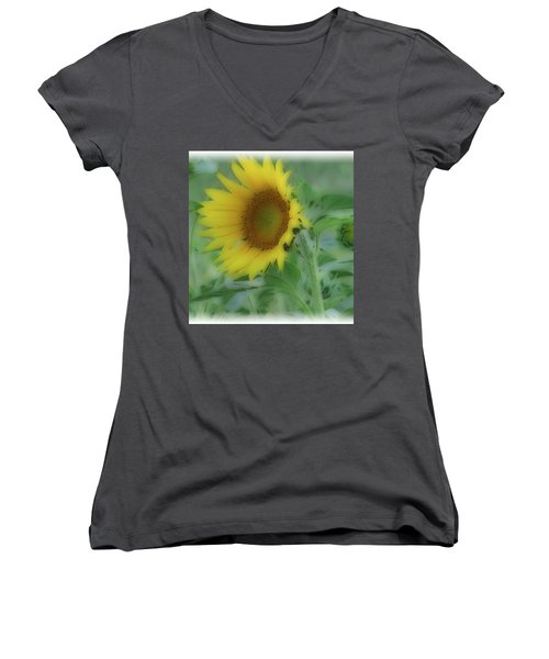 Women's V-Neck T-Shirt (Junior Cut) featuring the photograph Soft Touch Sunflower by Debra     Vatalaro