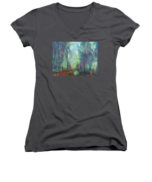 Women's V-Neck T-Shirt (Junior Cut) featuring the painting Softlit Forest by Betty Pieper