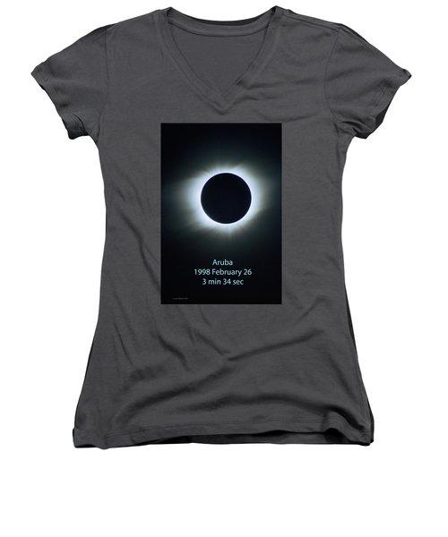 Solar Eclipse Aruba 1998 Women's V-Neck