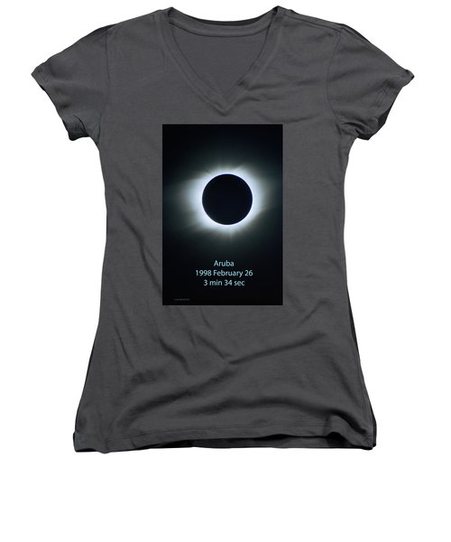 Solar Eclipse Aruba 1998 Women's V-Neck