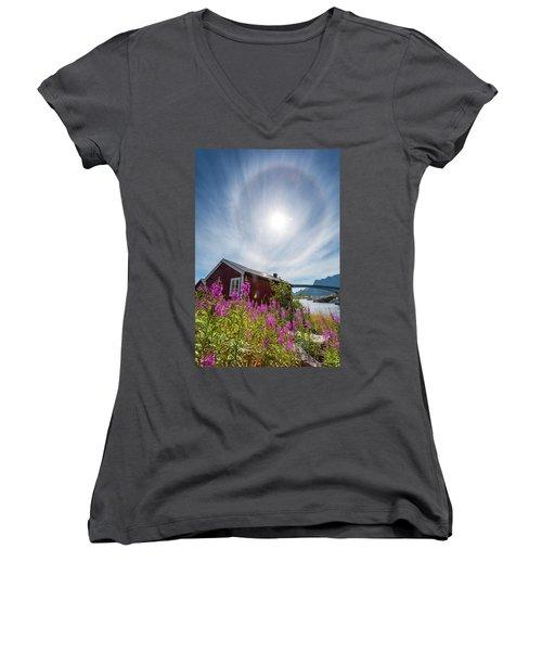 Solar Halo Above Rorbu Women's V-Neck