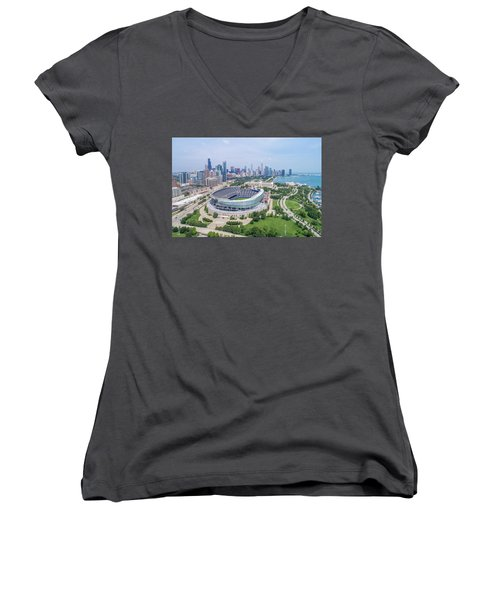 Women's V-Neck T-Shirt featuring the photograph Soldier Field by Sebastian Musial