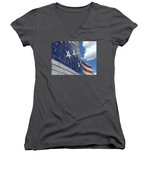 Solid Old Glory  Women's V-Neck T-Shirt (Junior Cut) by Erick Schmidt