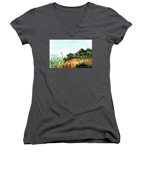 Women's V-Neck T-Shirt featuring the painting Solitary Cottage In Malawi by Dora Hathazi Mendes