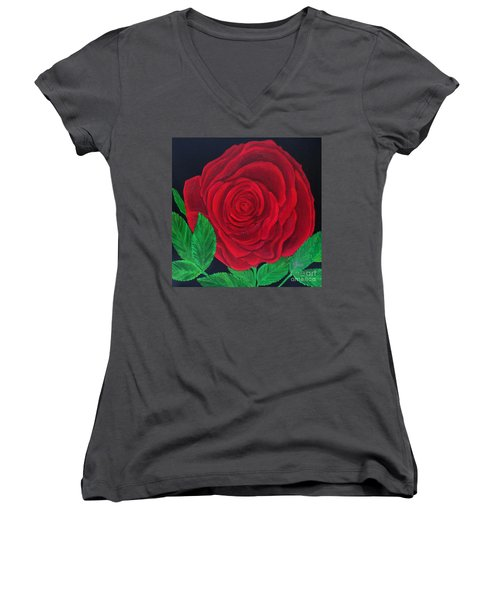 Solitary Red Rose Women's V-Neck (Athletic Fit)