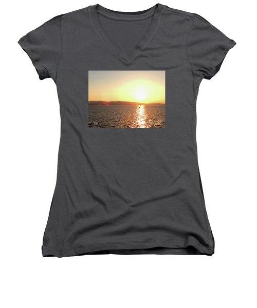 Solitary Sailboat Women's V-Neck T-Shirt (Junior Cut) by Felipe Adan Lerma