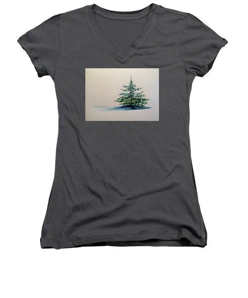 Women's V-Neck T-Shirt (Junior Cut) featuring the painting Solitude by Wendy Shoults