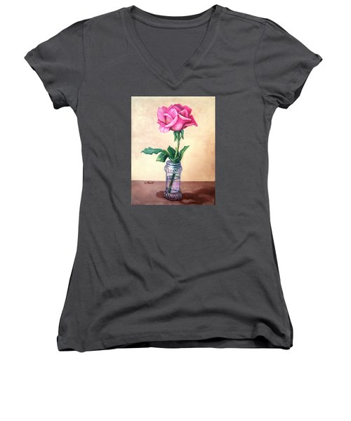 Women's V-Neck T-Shirt (Junior Cut) featuring the painting Solo Rose by Laura Aceto