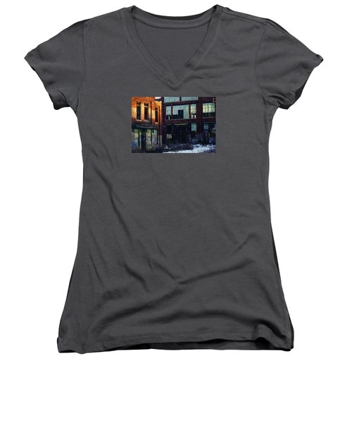 Solvay Coke Women's V-Neck T-Shirt (Junior Cut) by David Blank