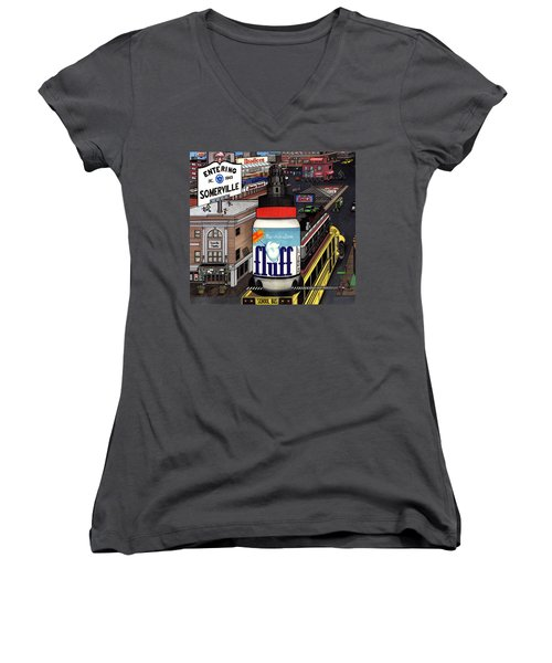 Women's V-Neck T-Shirt (Junior Cut) featuring the drawing A Strange Day In Somerville  by Richie Montgomery